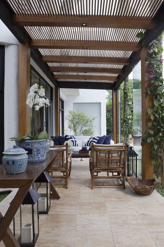 Decora o com pergolado de madeira por que usar quais as for Estilos de techos para patios